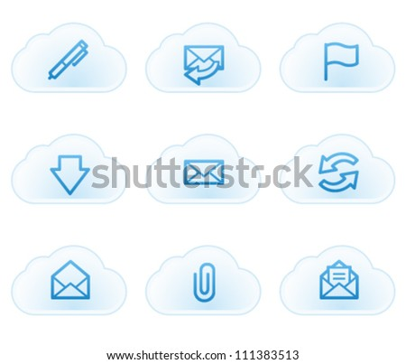 E-mail web icons, cloud buttons - stock vector