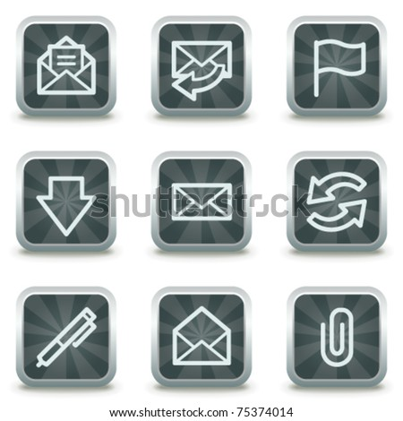 E-mail web icons, grey square buttons - stock vector