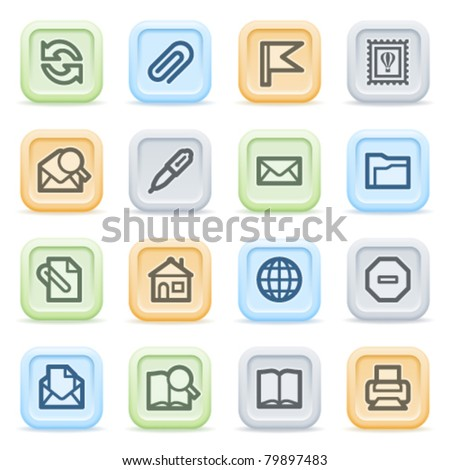 E-mail web icons on color buttons. - stock vector