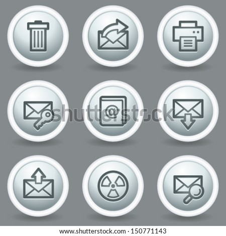 E-mail web icons set 2, circle grey matte buttons - stock vector