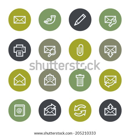 E-mail web icons set, color buttons - stock vector