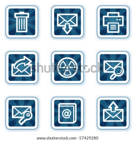 E-mail web icons set 2, navy square buttons - stock vector