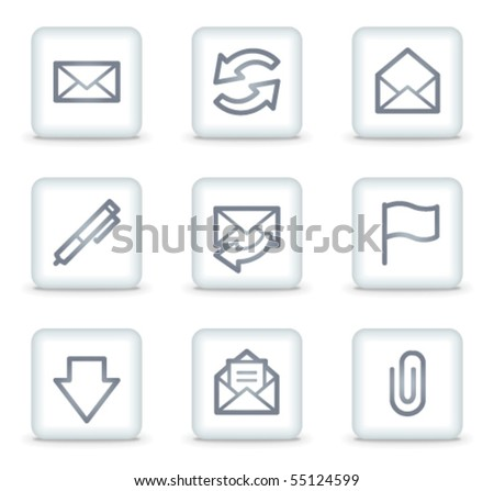 E-mail web icons set 1, white square buttons - stock vector