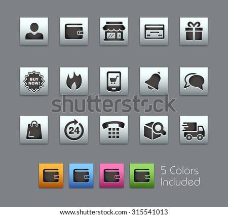 e-Shop Icons The vector file includes 5 color versions for each icon in different layers ---- - stock vector