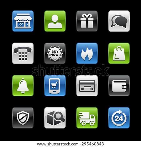 E-Shopping Glossy Buttons // Gelbox Series - stock vector