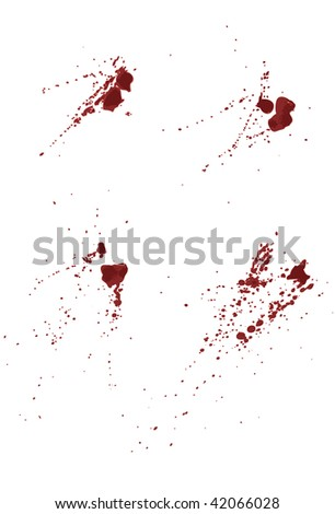 Each splatter grouped together on same layer. Easily add or subtract portions, 4 shades of red used. - stock vector