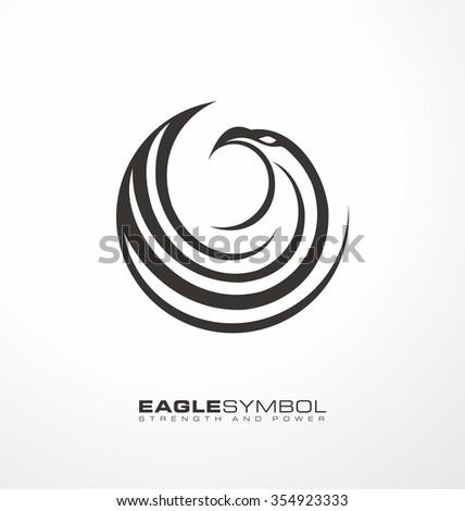 Eagle business logo design layout, Creative logo design concept with artistic and simplified bird. Unique falcon illustration icon. Eagle symbol vector template.  - stock vector