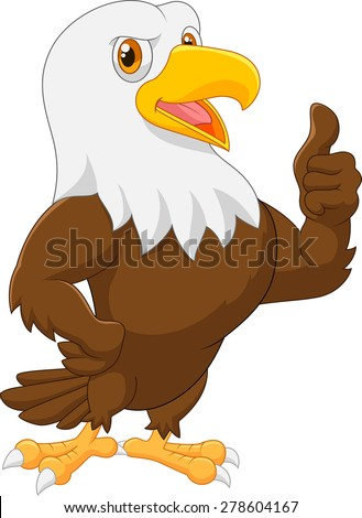 Eagle cartoon giving thumb up - stock vector