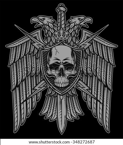 Eagle crest skull shield coat of arms black - stock vector