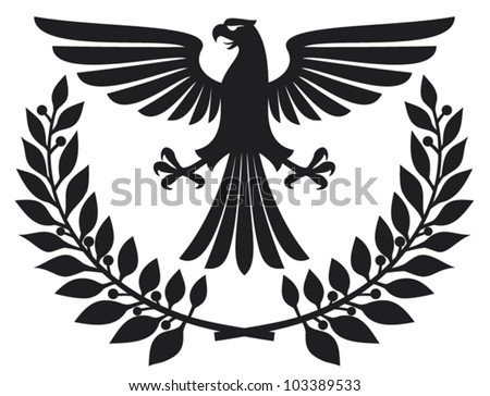 eagle emblem (eagle coat of arms, eagle symbol, eagle badge, eagle and laurel wreath) - stock vector
