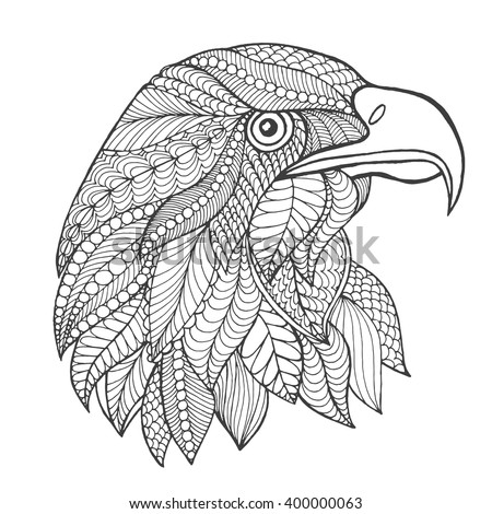 Eagle head. Adult antistress coloring page. Black white hand drawn doodle animal. Ethnic patterned vector. African, indian, totem tribal, zentangle design. Sketch for tattoo, poster, print, t-shirt - stock vector