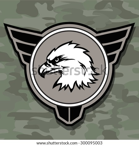 Eagle head logo emblem template mascot symbol for business or shirt design. Vector military design element. - stock vector