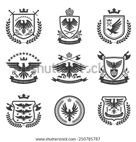 Eagle heraldry coat of arms emblems shield icons set with spread wings black isolated abstract vector illustration - stock vector