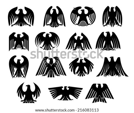 Eagle heraldry silhouettes set. Isolated on white background. Suitable for design, such as wallpaper, tiles, heraldic and logo - stock vector