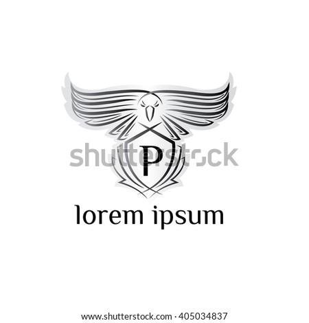 Eagle letter P Logo, bird logo,Phoenix logo,Vector Logo template. Bird of prey logo. - stock vector