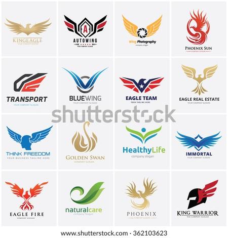 Eagle logo set.Vector logo template - stock vector