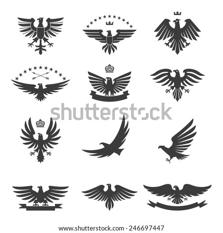 Eagle silhouettes bird heraldic symbols icons black set isolated vector illustration - stock vector