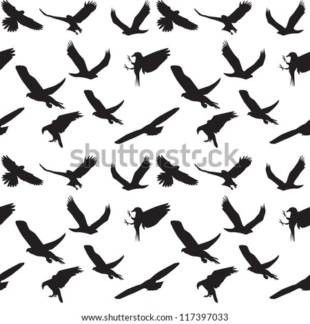 Eagle symbol set seamless pattern. Vector illustration. EPS 10 - stock vector