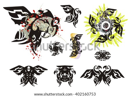 Eagle symbols in tribal style. Grunge eagle head with blood drops, the twirled eagle symbol and double eagle symbols isolated on a white background - stock vector
