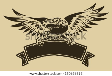 Eagle with ribbon - stock vector