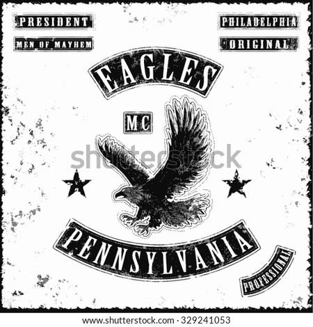 eagles motorbike gang jacket tee shirt graphic design - stock vector