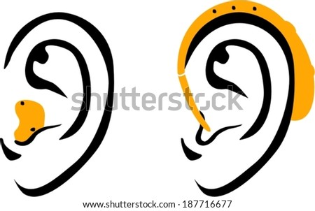Ear hearing aid icons  - stock vector