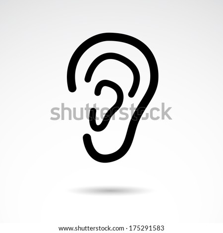 Ear icon isolated on white background. VECTOR illustration. - stock vector