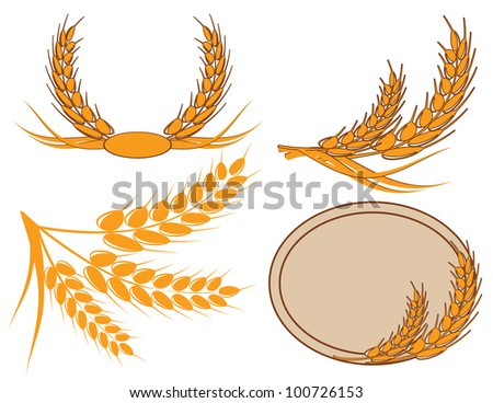 ear of wheat in a wreath - stock vector