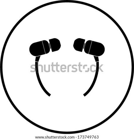 earbuds symbol - stock vector