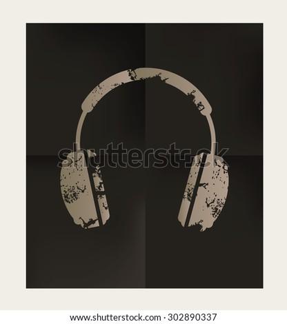 Earphone design on black background,vector - stock vector