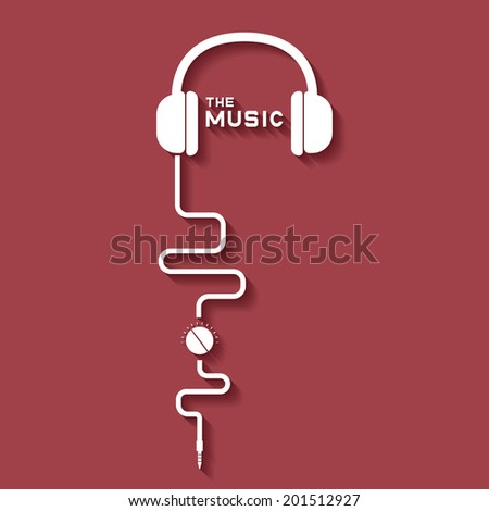 earphone music - stock vector