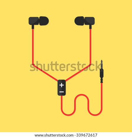 earphones isolated on yellow background. concept of meloman items, earbud, ear plugs, multimedia, hipster lifestyle, tune, surround, record. flat style trend modern design vector illustration - stock vector