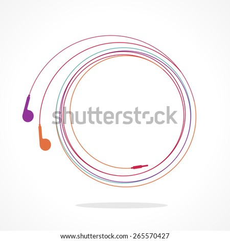 Earphones symbol. Colorful linear vector illustration - stock vector