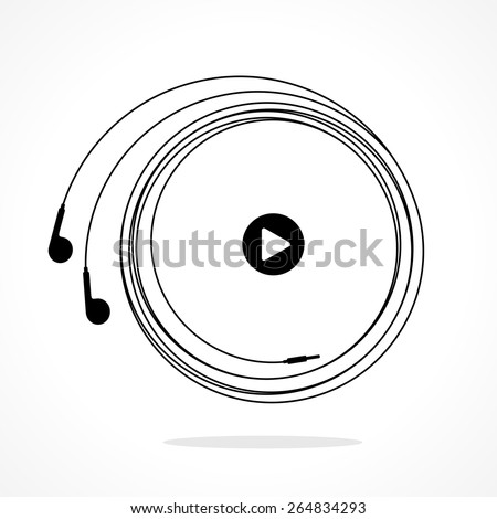 Earphones symbol with play button. Black and white linear vector illustration - stock vector