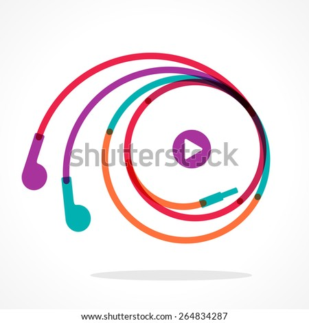 Earphones symbol with play button. Colorful vector illustration - stock vector