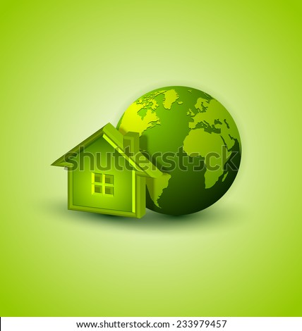 Earth and house icon placed on background - stock vector