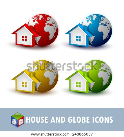 Earth and house icons placed on white background - stock vector