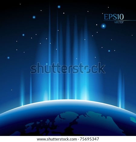 Earth and sunrise in space - stock vector