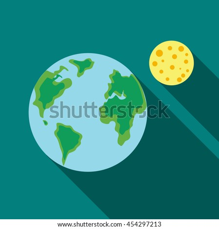 Earth and the Moon icon in flat style on a turquoise background - stock vector