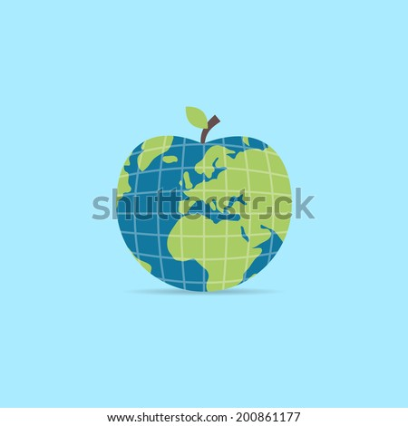 Earth apple icon. Abstract nature symbol. Ecology concept. Apple world, with leaf, water, and continents. Easy to edit. Vector illustration - EPS10. - stock vector