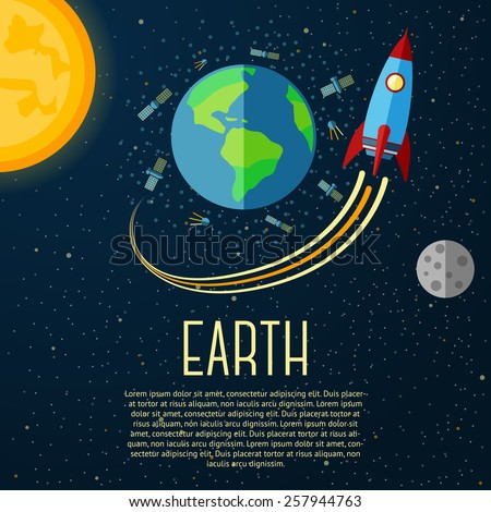 Earth banner with sun, moon, stars and space rocket. Vector - stock vector