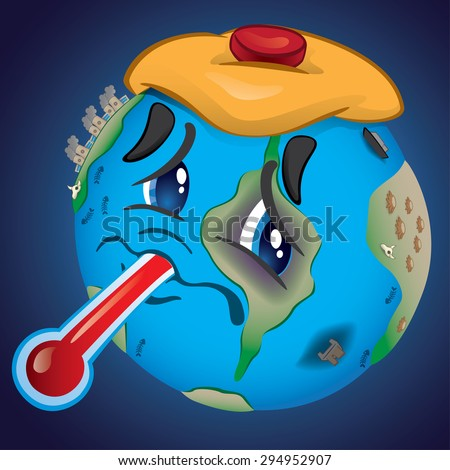 Earth, bruised and saddened by pollution and abuse of man. - stock vector
