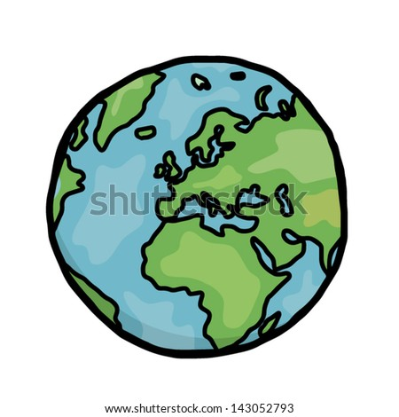 earth / cartoon vector and illustration, hand drawn, sketch style, isolated on white background. - stock vector