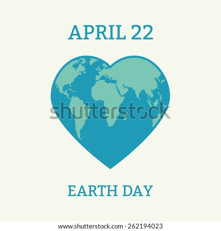 Earth Day card. Globe in the shape of heart. Vector illustration.  - stock vector