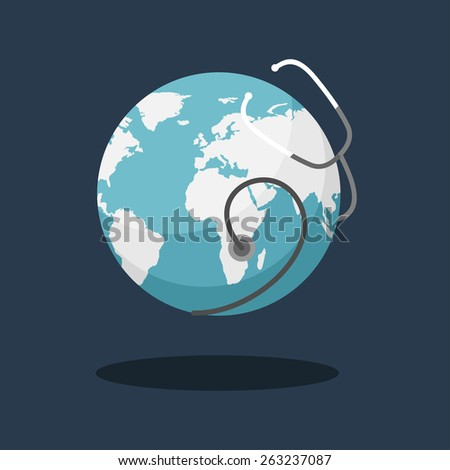Earth Day Celebrating Card or Poster Design. Earth with Phonendoscope - stock vector