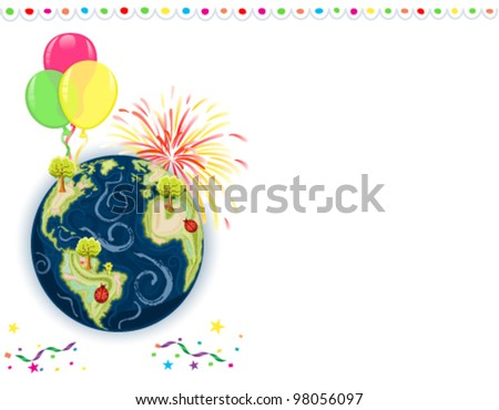 Earth Day Celebration - greeting card with balloons, fireworks and confetti. Vector file saved as EPS AI8, all elements layered, grouped, no effects, easy print. - stock vector