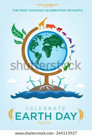 Earth Day Celebration Poster Design Template with Animals Roaming Around a Globe themed Tree. Also are Renewable Energy and Ocean icons and Sample Texts. Editable EPS10 vector and large jpg. - stock vector