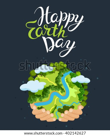 Earth day concept. Human hands holding floating globe in space. Save our planet. Flat style vector isolated illustration. - stock vector