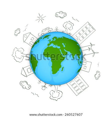 Earth Day concept with view of urban city on shiny globe. - stock vector