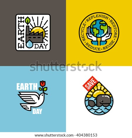 Earth day concepts set with eco-friendly factory at sunrise, human hands holding Earth, peace dove with red flower, cheerful whale at sunset. Creative flat line vector illustration - stock vector